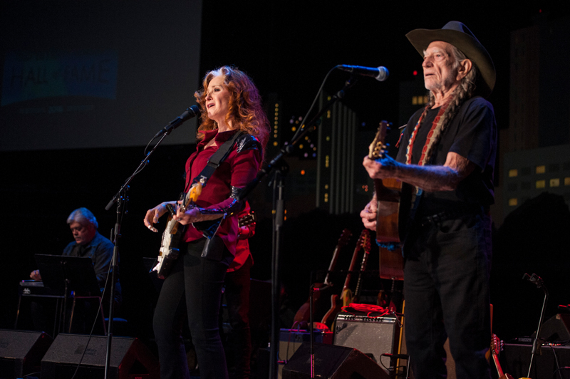 2016 ACL Hall of Fame New Year's Eve | Bonnie Raitt & Willie Nelson photo by Scott Newton